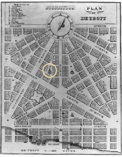 Augustus Woodward's 1805 plan for the city of Detroit after fire destroyed much of the city, with the territorial courthouse circled