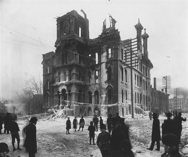 Capitol Union High School on January 27, 1893, after fire consumed the building, including the original wooden interior that served as the capitol