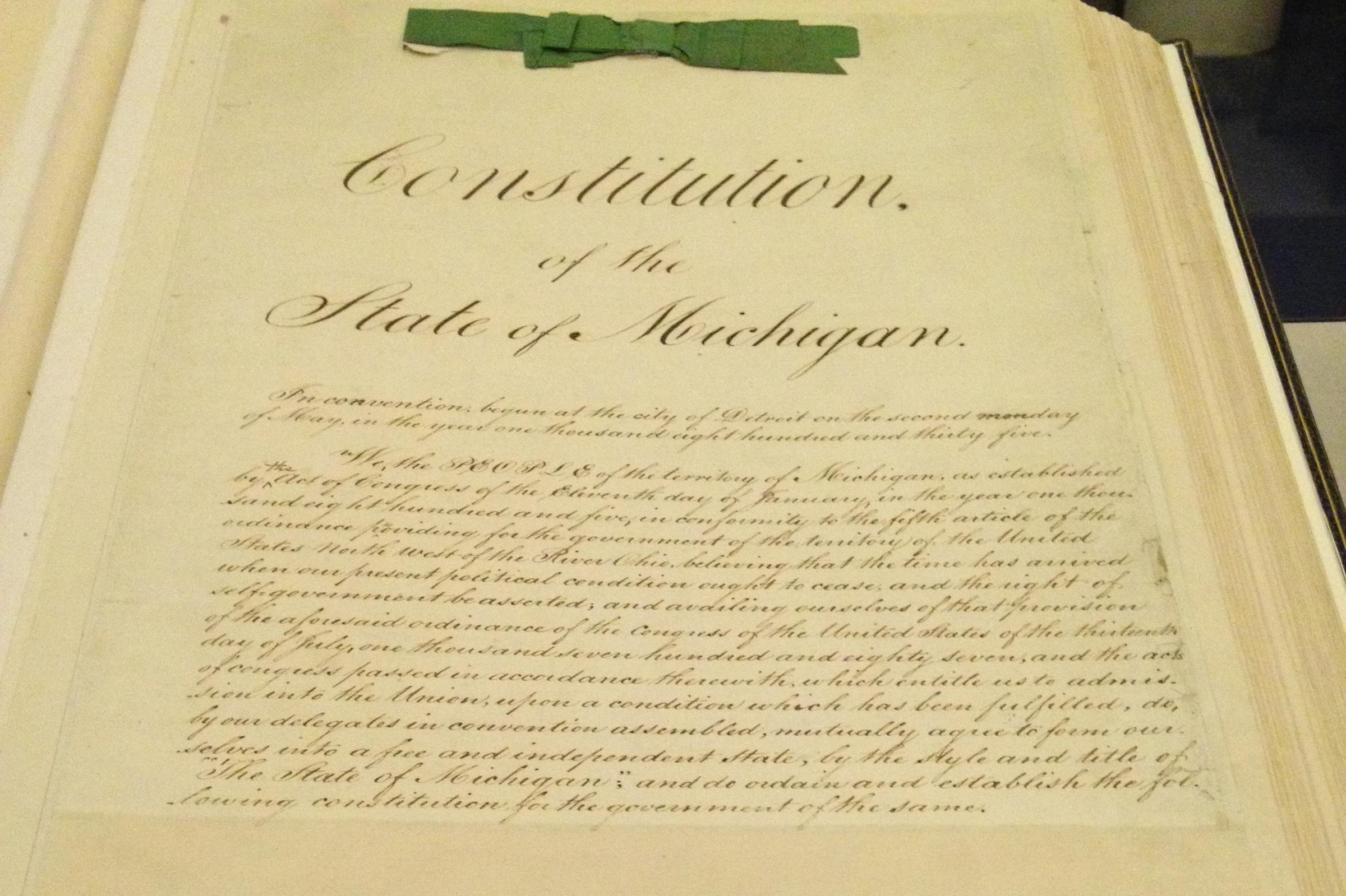 Michigan's 1835 constitution was drafted and approved inside the capitol in Detroit