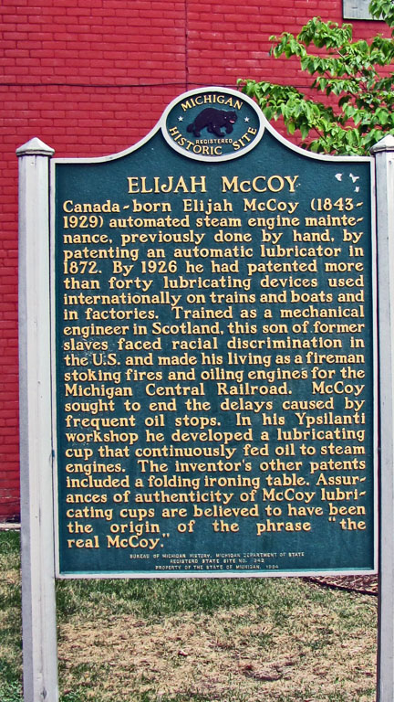 Historical marker of McCoy's workshop, at 229 West Michigan Ave in Ypsilanti