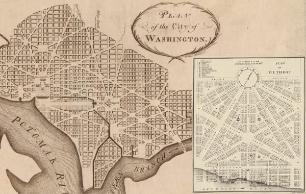 A comparison between L'Enfant's design of Washington, D.C. and Woodward's plan for Detroit