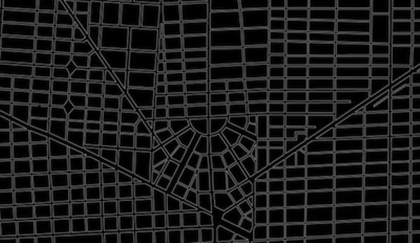 A view of Detroit's streets, showing how only part of Woodward's plan was implemented, and the rest was abandoned in favor of a traditional grid pattern.