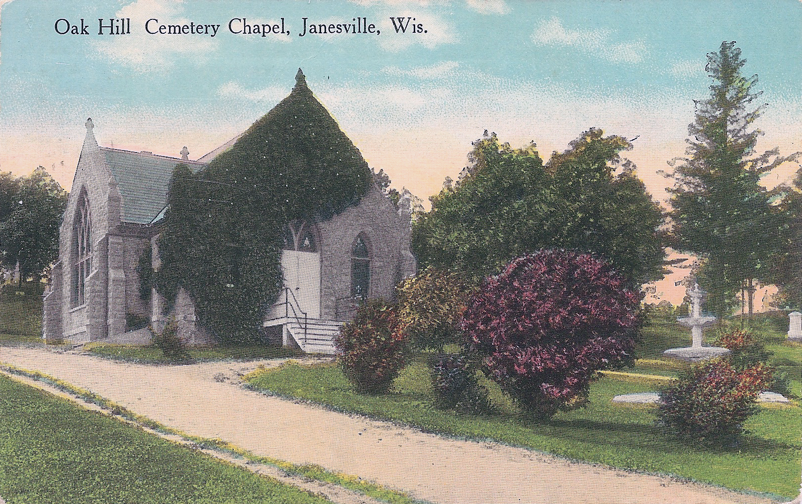 Postcard of Oak Hill Chapel, currently under renovation.