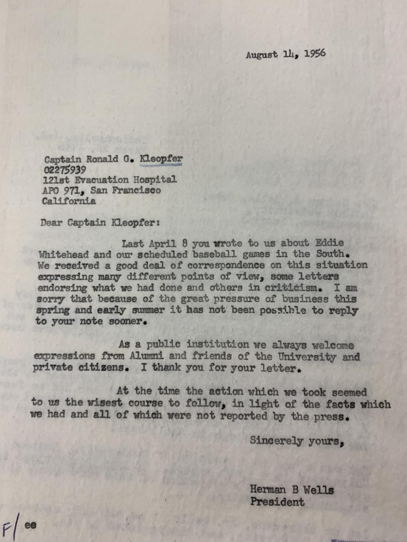 Letter from Herman B. Wells to Capt. Kleopfer