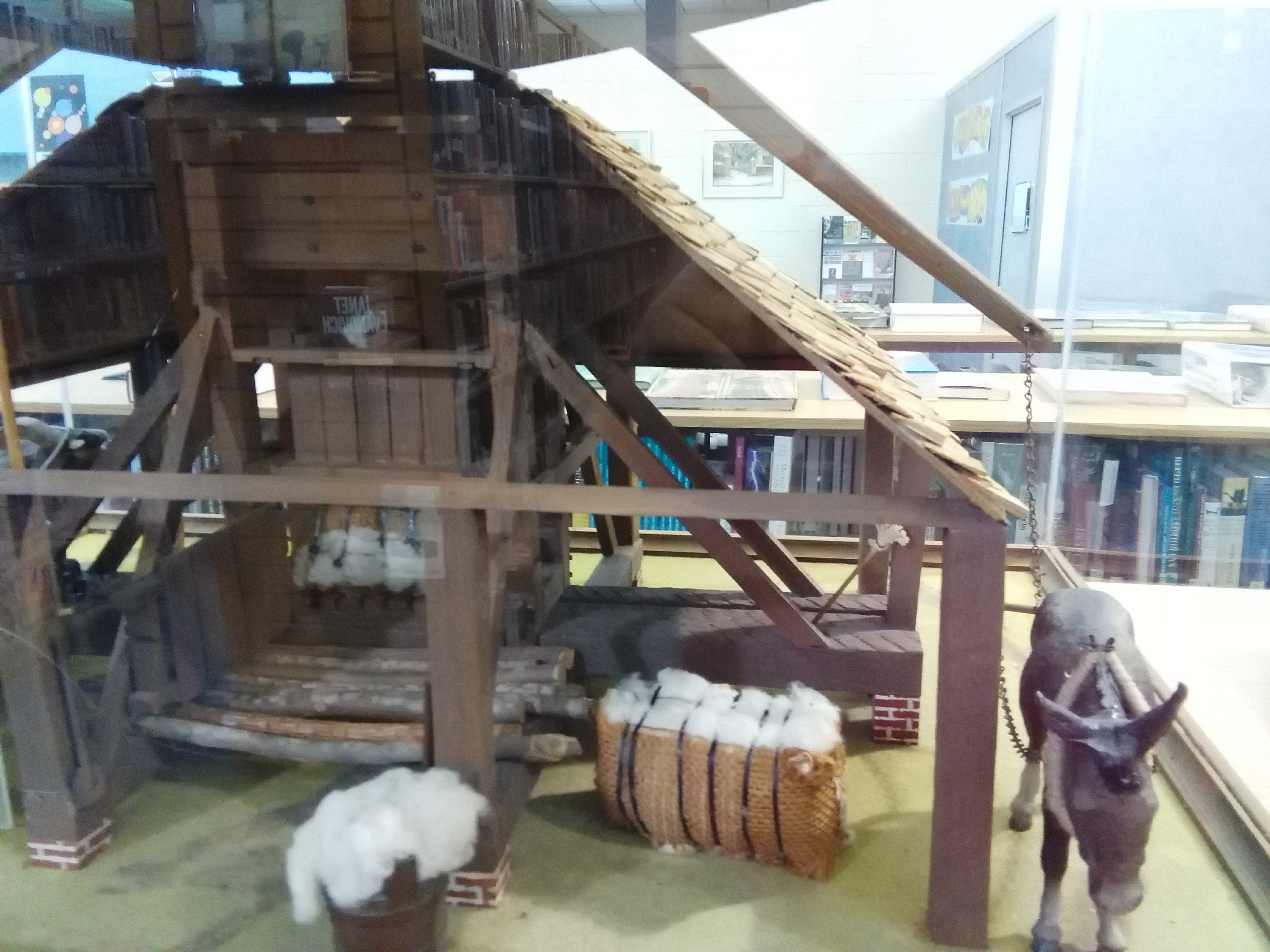 Model of the cotton press located in the Edgecombe Memorial Library that shows how the press operated. Photo by Shondi Showalter