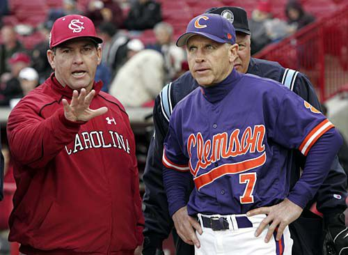 """Clemson head coach Jack Legget and USC head coach Ray Tanner have had disputes over one another especially after the Jackie Bradley Jr. homerun and alleged """"juiced up"""" bats."""