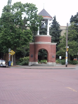 View of the bell tower in Marvin's Garden (image from Walking Seattle)