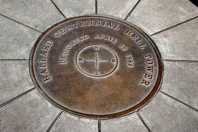 Compass inside the Ballard Centennial Bell Tower (image from the Historical Markers Database)