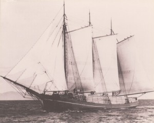 Historic photo of the Wawona, a schooner restored by Northwest Seaport (image from Northwest Seaport)
