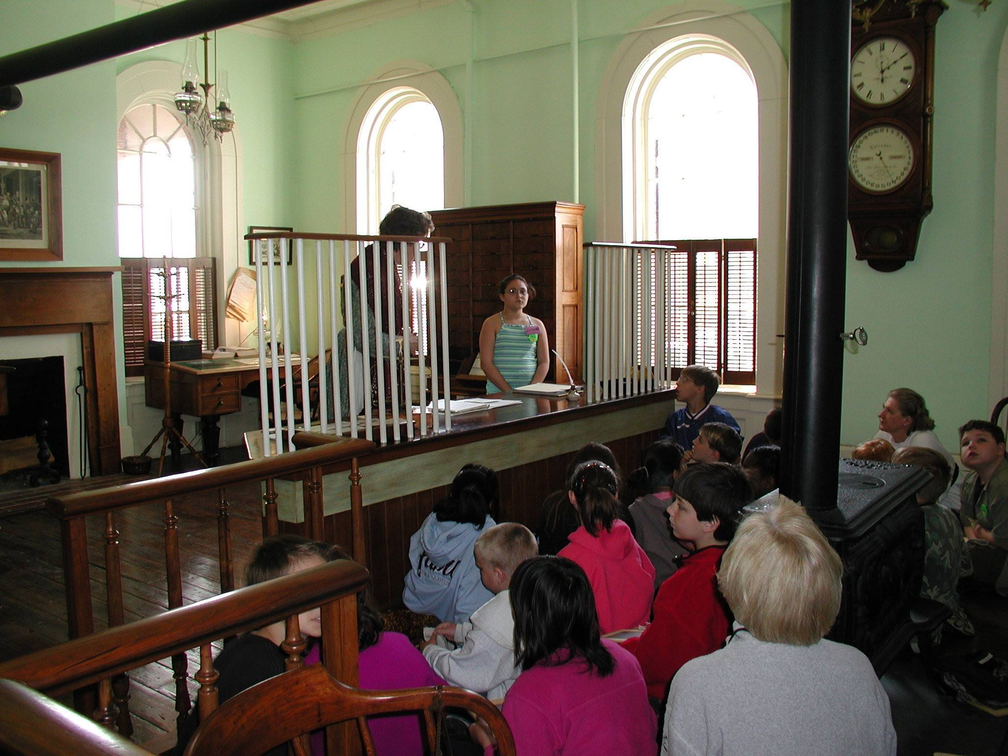 A school group on a tour of the museum