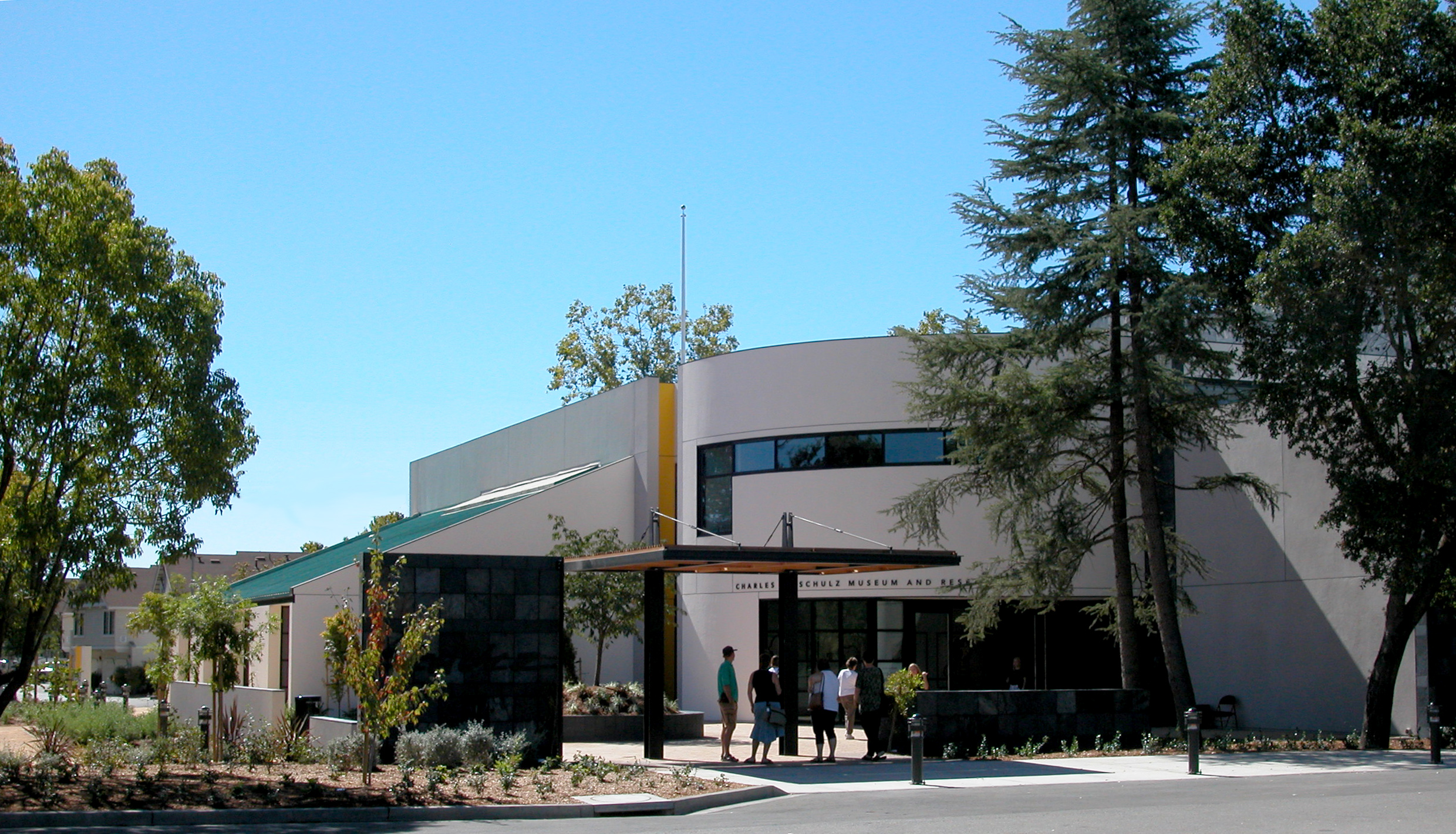Photo by Rick Samuels, Courtesy of the Charles M. Schulz Museum and Research Center. The front of the Building