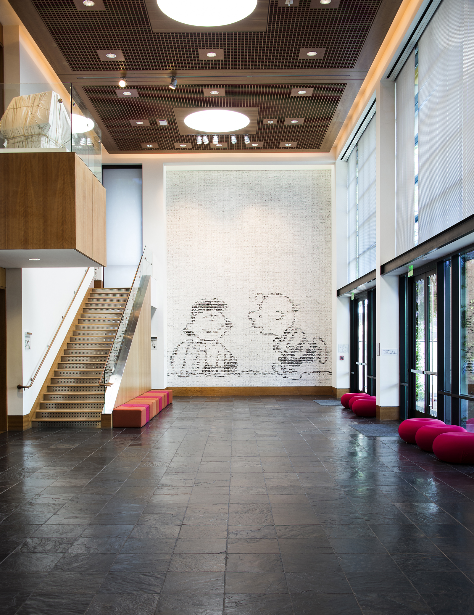 Photo by DJ Ashton, courtesy of the Charles M. Schulz Museum and Research Center Tile Mural in the Great Hall