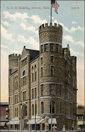 A postcard of the GAR Building circa 1900-1915