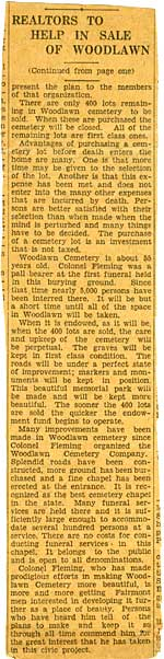 Continuation of the article on the Endowment of the Cemetery in The Fairmont Times/ West Virginian Courtesy of the Historic Woodlawn Cemetery.