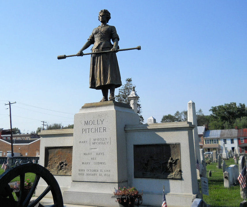 Photograph of the Molly Pitcher statue at her grave in Carlisle, Pennsylvania.
