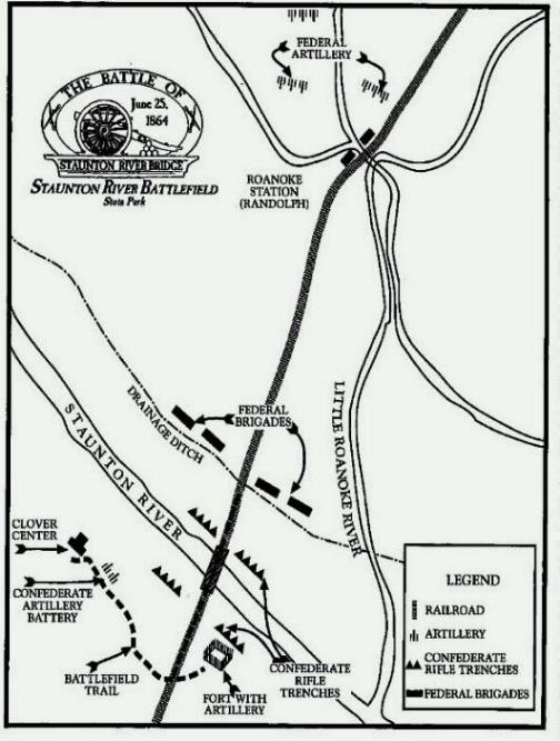 Field map of the Battle of Staunton River Bridge