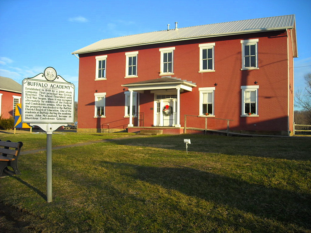The historic school has been partially restored and is adjacent to two historic churches that were created shortly after the Civil War.