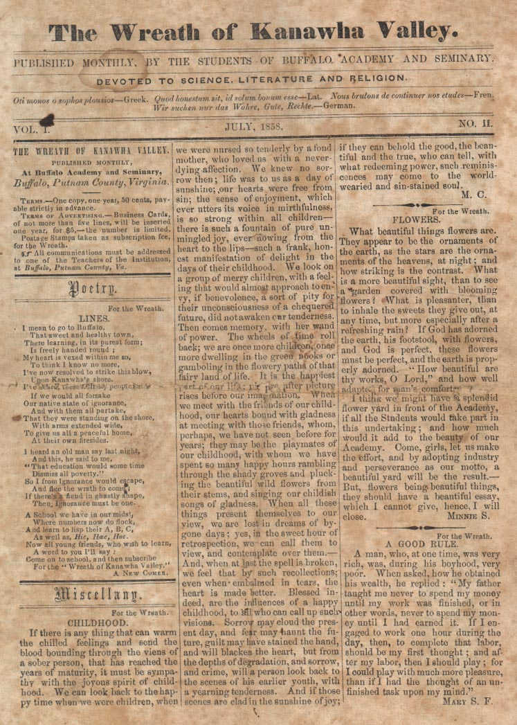 "Front Page of an 1858 Issue of ""The Wreath of the Kanawha Valley,"" a student publication at Buffalo Academy"