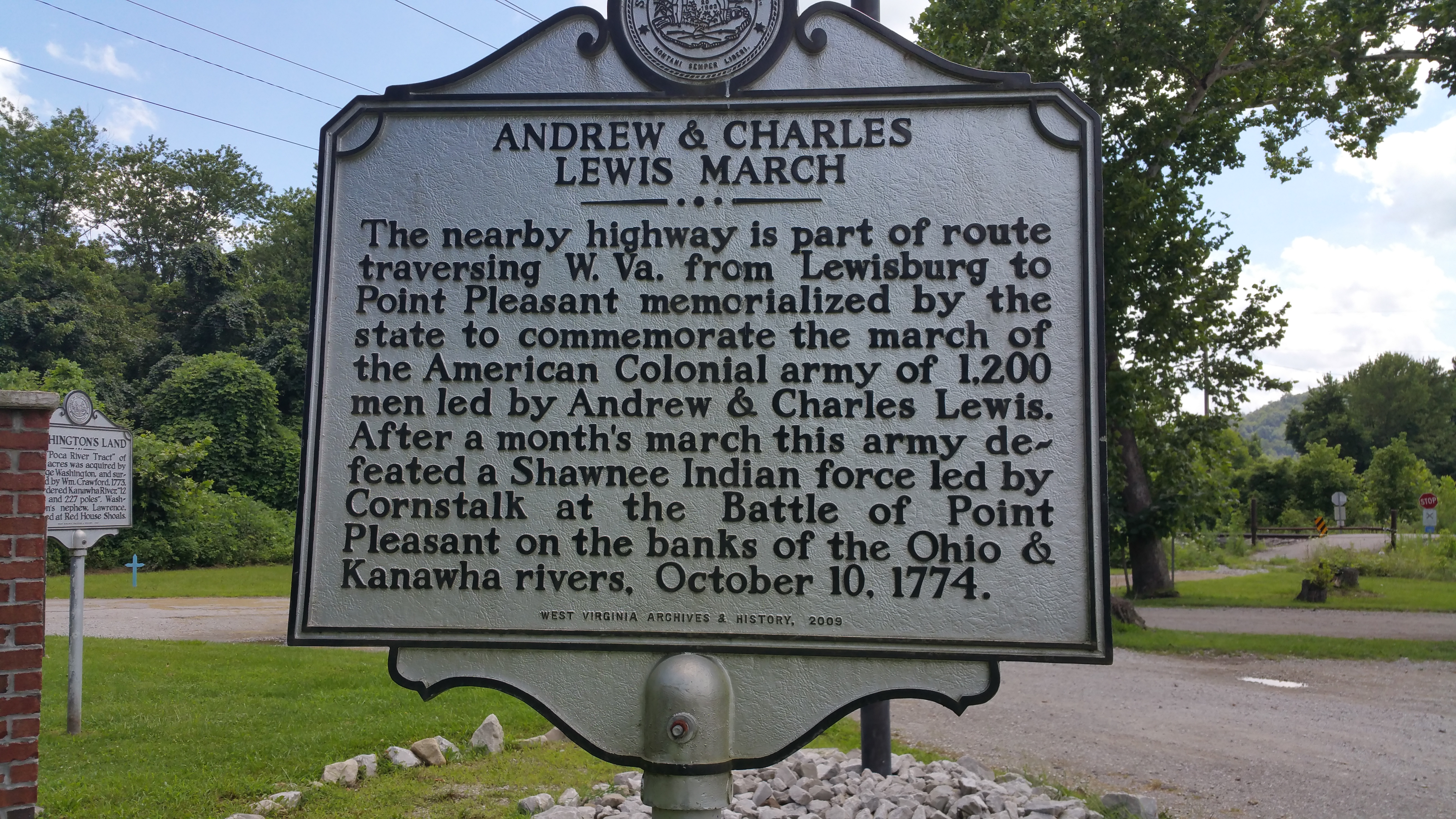 The historical marker in Hometown, West Virginia
