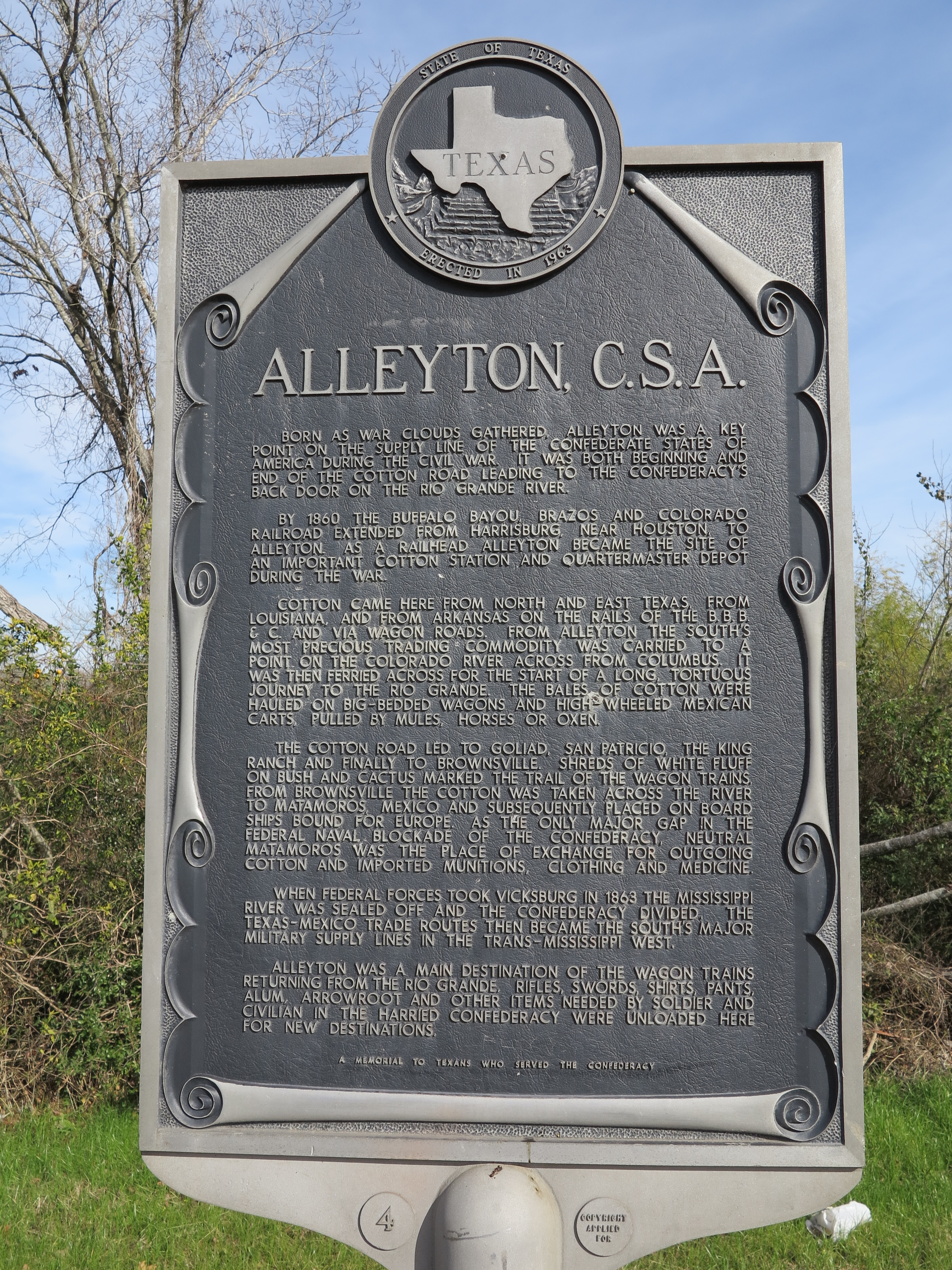 Additional close-up of whole Alleyton C.S.A. Marker