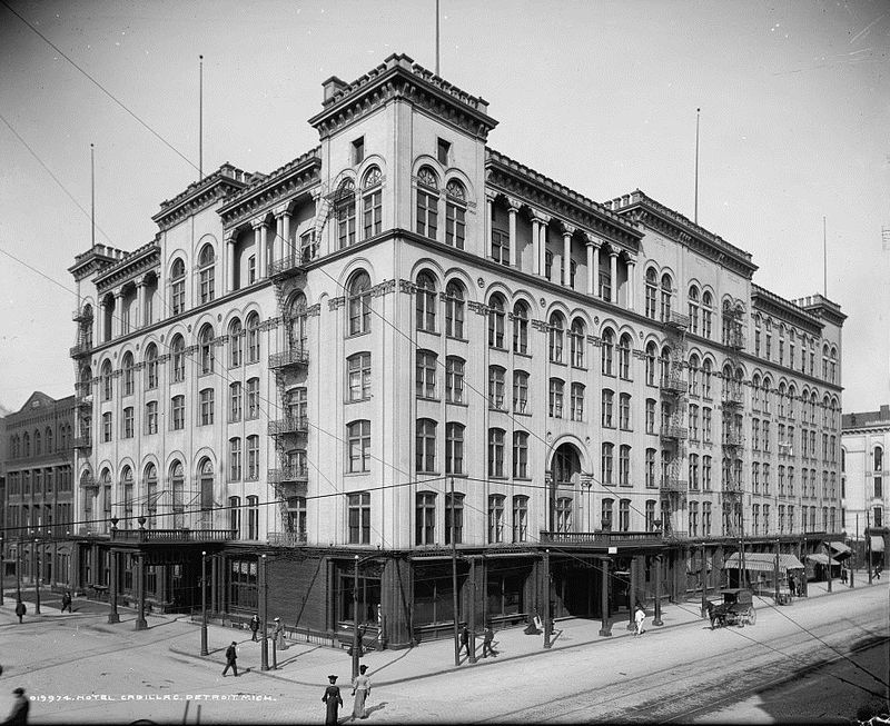 The Cadillac Hotel was built in 1888 and gained a reputation as one of Detroit's most luxurious hotels.