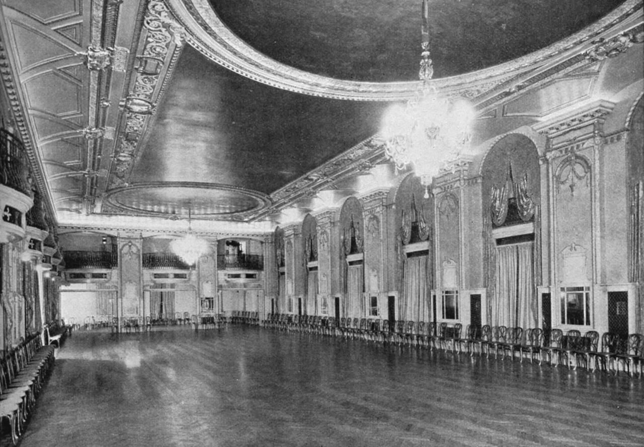 One of the hotel's grand ballrooms in the 1920s