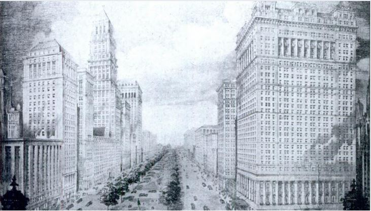 "Architect Louis Kamper's vision of Washington Boulevard. The Book brothers wanted to create a ""Fifth Avenue of the Midwest' along Washington, but the plan was never fully realized due to the Great Depression."