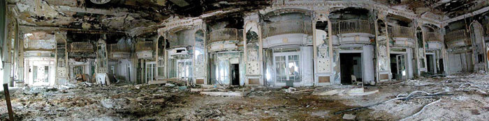 The Book-Cadillac closed in 1984 and suffered years of vacancy, deterioration, and vandalism. Shown is one of the Venetian Ballroom before renovation.
