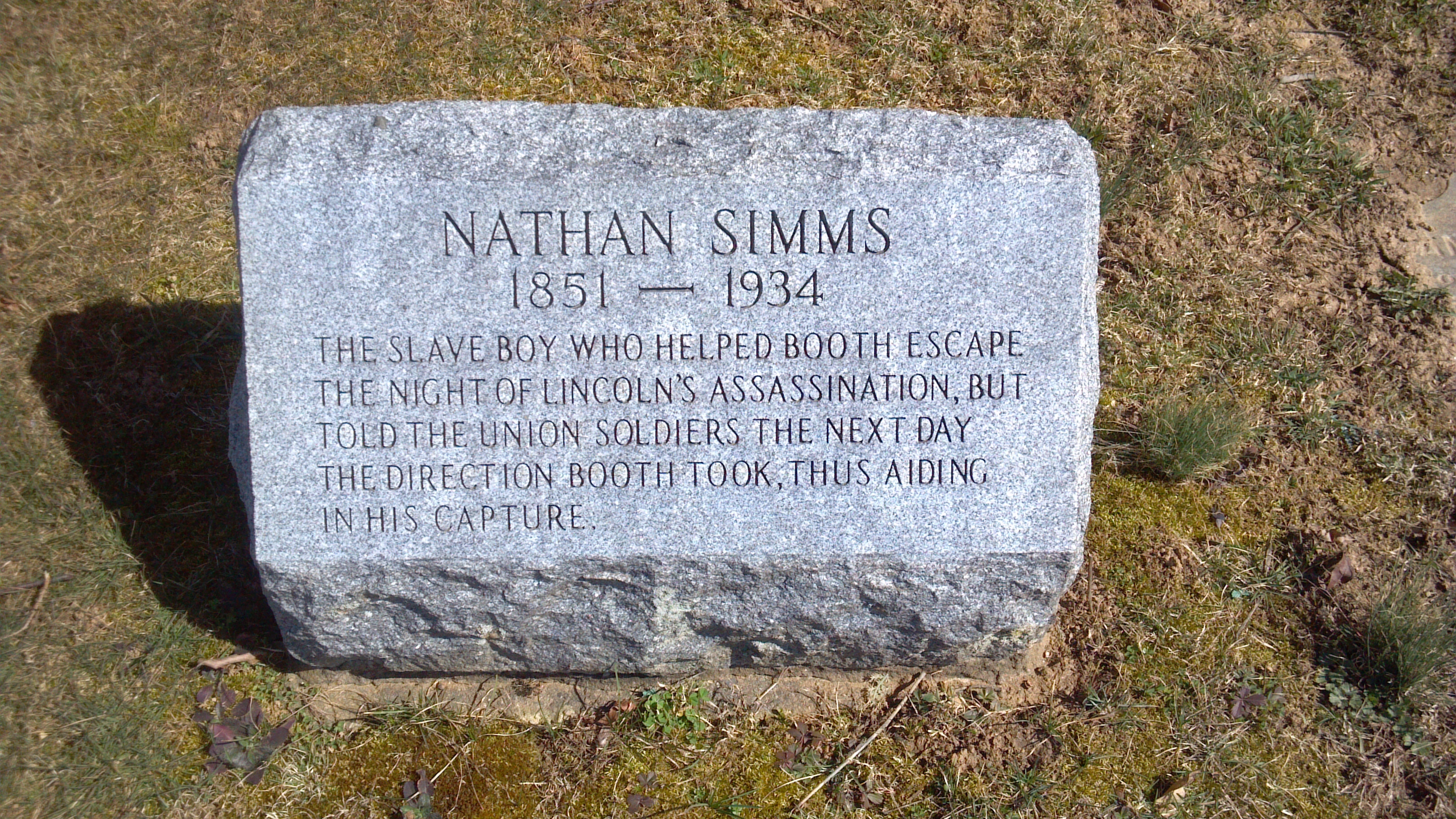 """Nathan Simms's marker placed in 1960 at the Bradford Cemetery near Marshallton, PA.  Famous for being the """"slave boy"""" who helped Booth's escape and capture.  lPhoto by Keith S. Smith, 2012, from History Marker Database (see sources)."""
