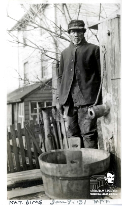 Photo of Nathan Simms, taken by Walter F. Price in 1931, submitted by Keith S. Smith to History Marker Database (2012).  Photo was sent by Price to President Hoover along with details of their visit.  (see source)