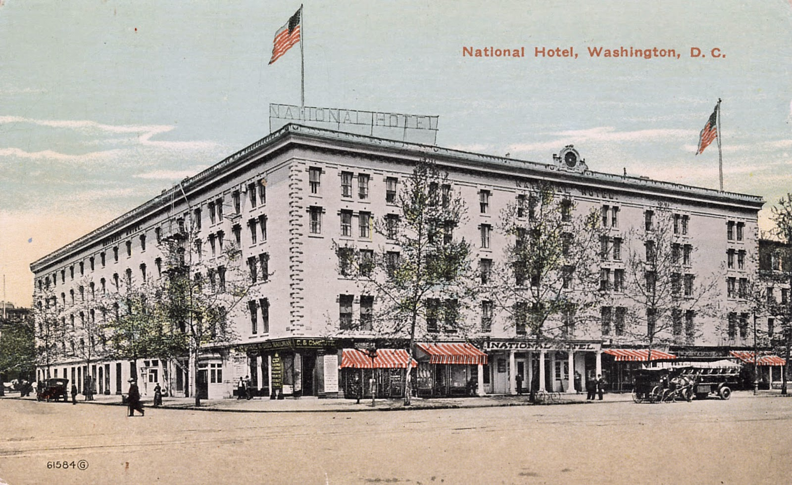 The National Hotel in 1910.  Opened by John Gadsby in the 1820s and became the preferred location for Southern visitors to the nation's capital.