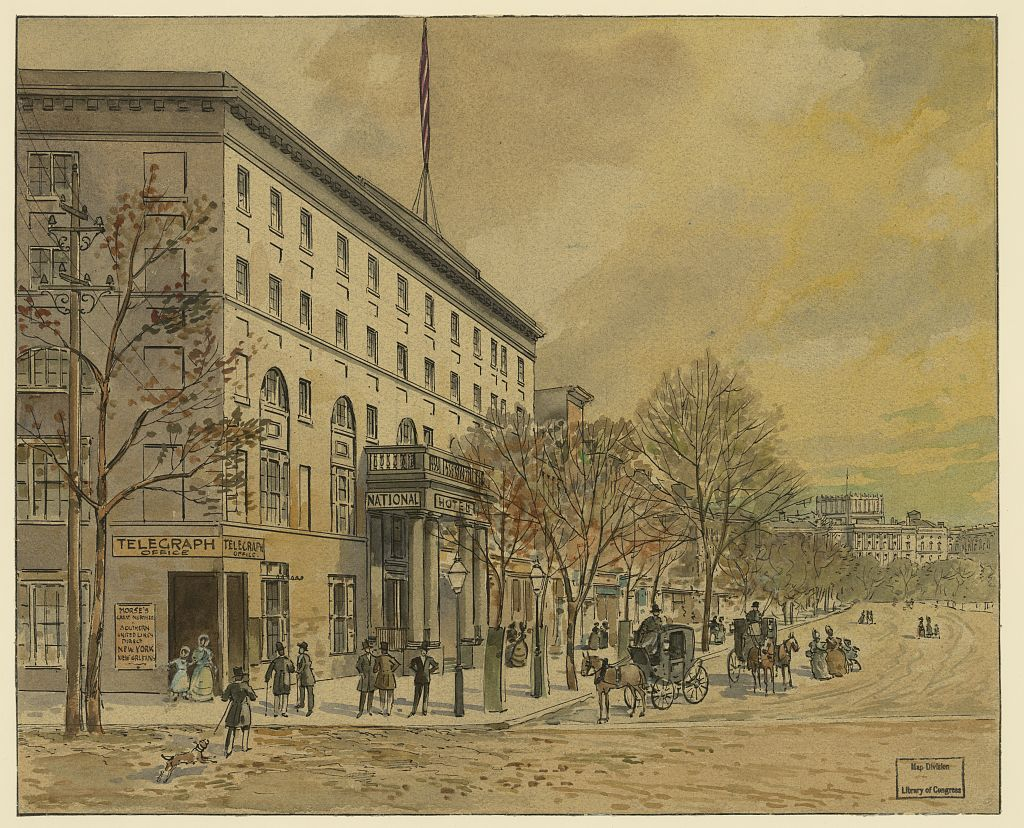 Drawing of the National Hotel from the corner of Pennsylvania Avenue and 6th Street NW.  The unfinished Capitol dome in the background fixes the date around 1860.  (Library of Congress)