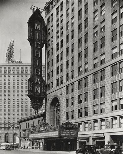 The Michigan Theatre's original vertical marquee, taken down in 1952