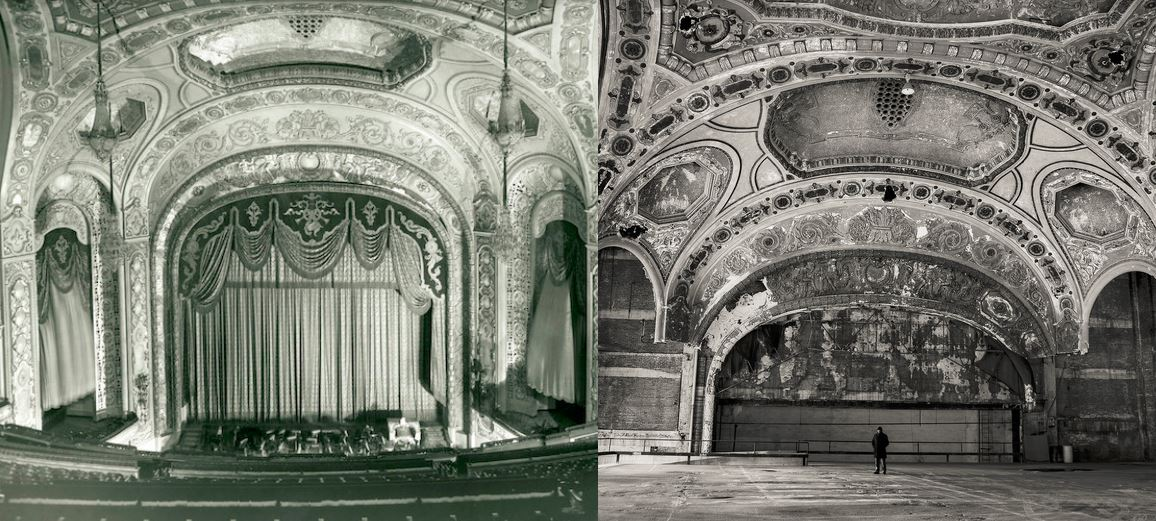 View of the stage then versus now
