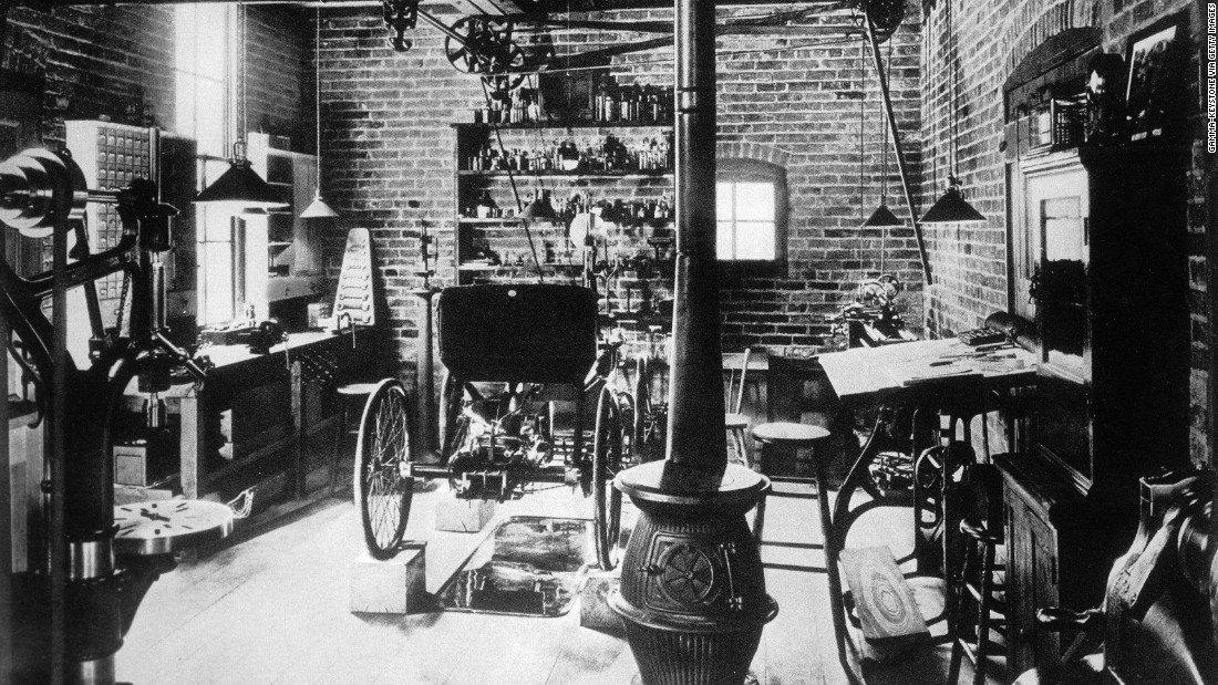 The inside Ford's workshop was recreated at Greenfield Village and includes a Quadricycle