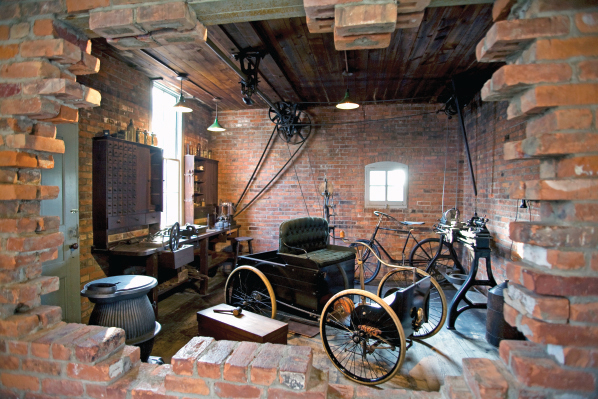 Ford's Bagley Ave workshop at Greenfield Village today. The hole represents how Ford had to dismantle the brick wall in order to get his Quadricycle out of the workshop.