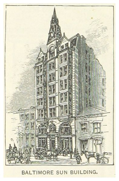 1891 rendition of the Sun Building. Courtesy o fpage 166 of King's Hand-book of the United States planned and edited by M. King. Text by M. F. Sweetser, by SWEETSER, Moses Forster. Original held and digitised by the British Library.