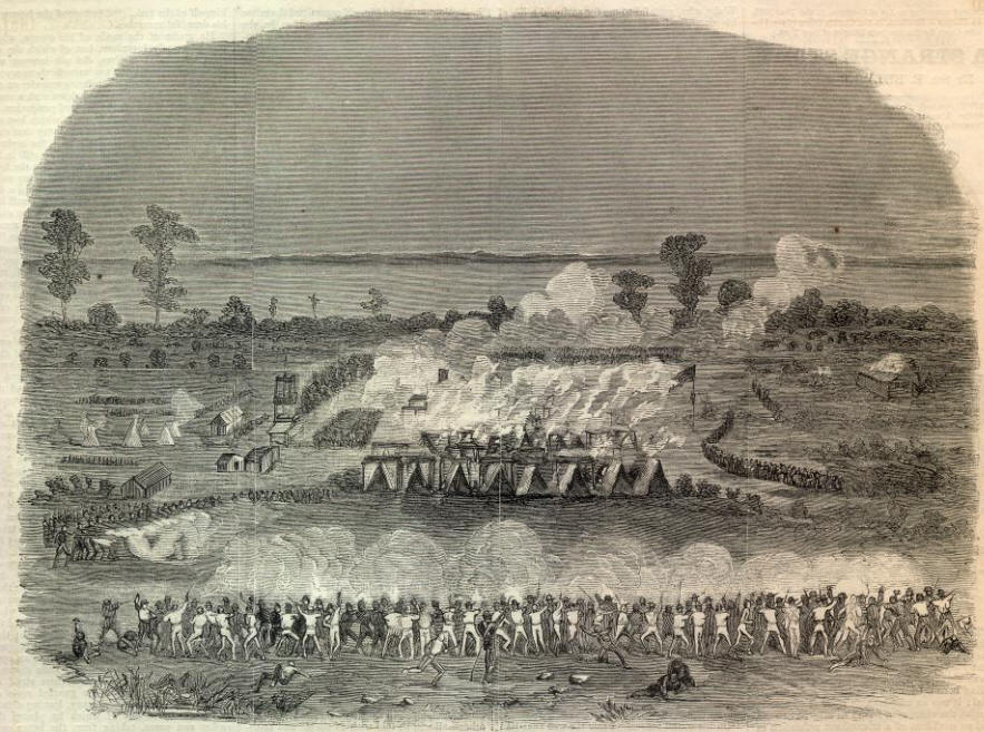 A rendition after the battle depicting the 6th Regiment of the New York Volunteers Zouaves attacking the Confederate camp on the island