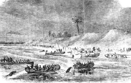 Depiction of Union reinforcements being landed on Santa Rosa Island April 12, 1861.