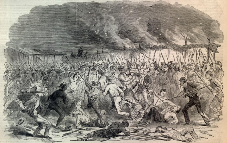 Another rendition of the New York Zouaves' attack on the Confederate camp