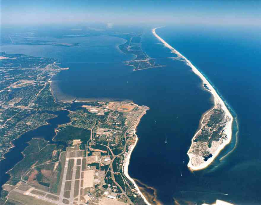 Ariel view of the Gulf Islands. Santa Rosa on the right