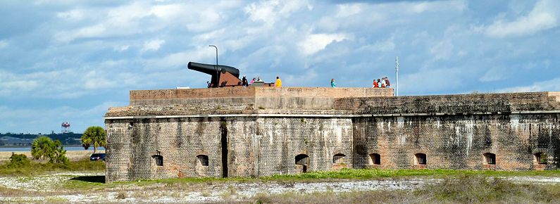 "Part of the fort's western bastion with the mounted 15"" Rodman cannon"