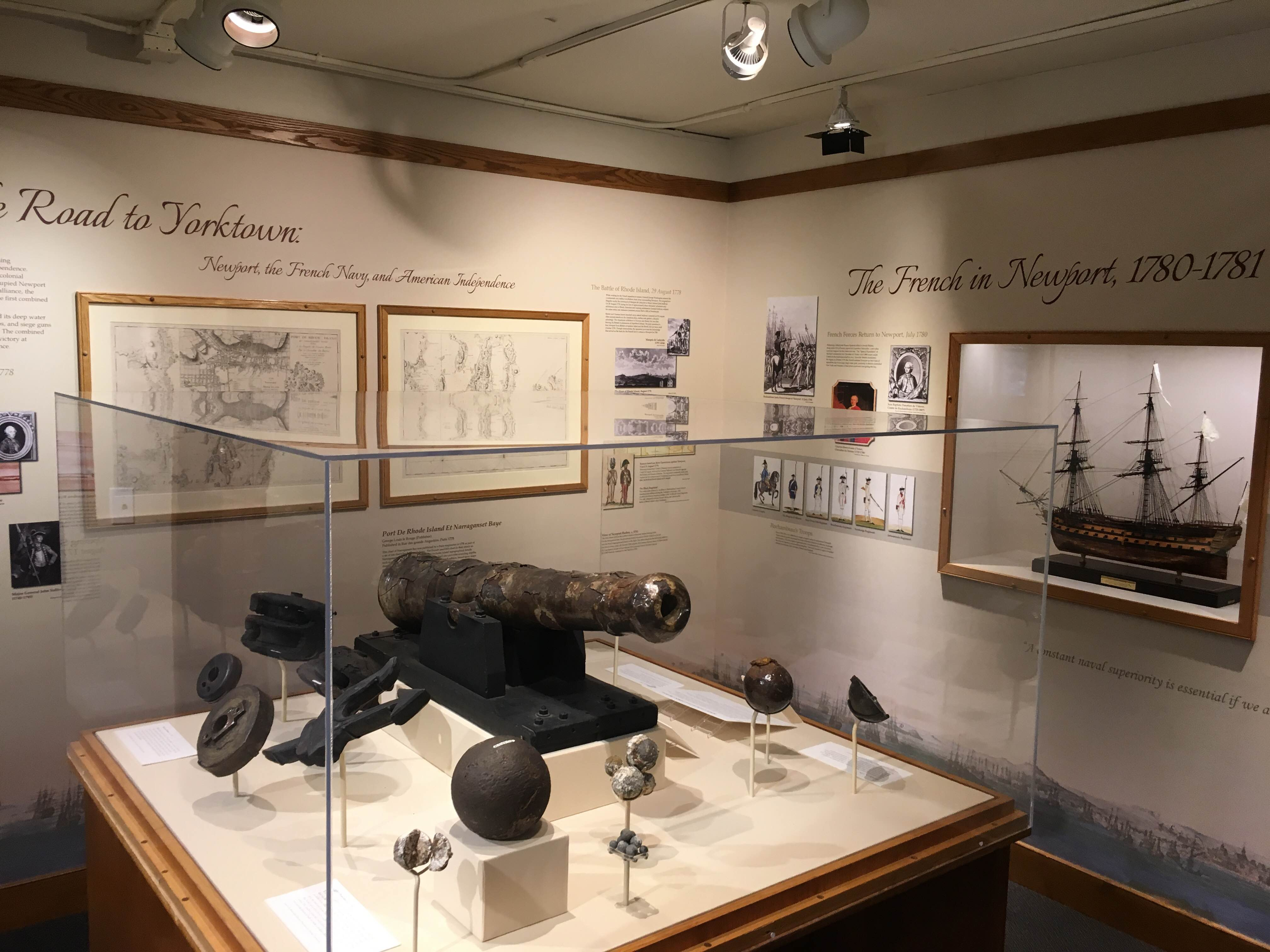 Artifacts recovered from a burned and scuttled British frigate in Narragansett Bay. Items date back to the 1770s and were recovered in the 1970s.