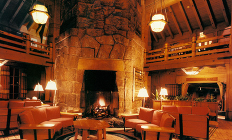 The Lodge features fireplaces like this one.