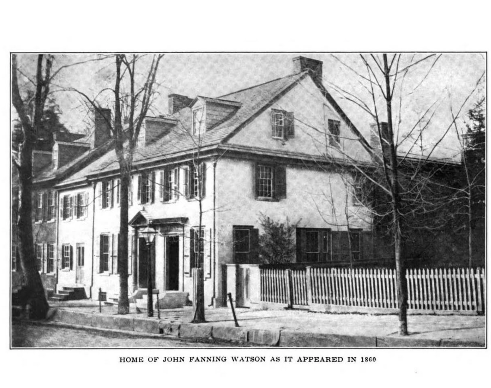 Photograph of the Clarkson-Watson House in 1860, sourced from History of Old Germantown, citation above, public domain history volume
