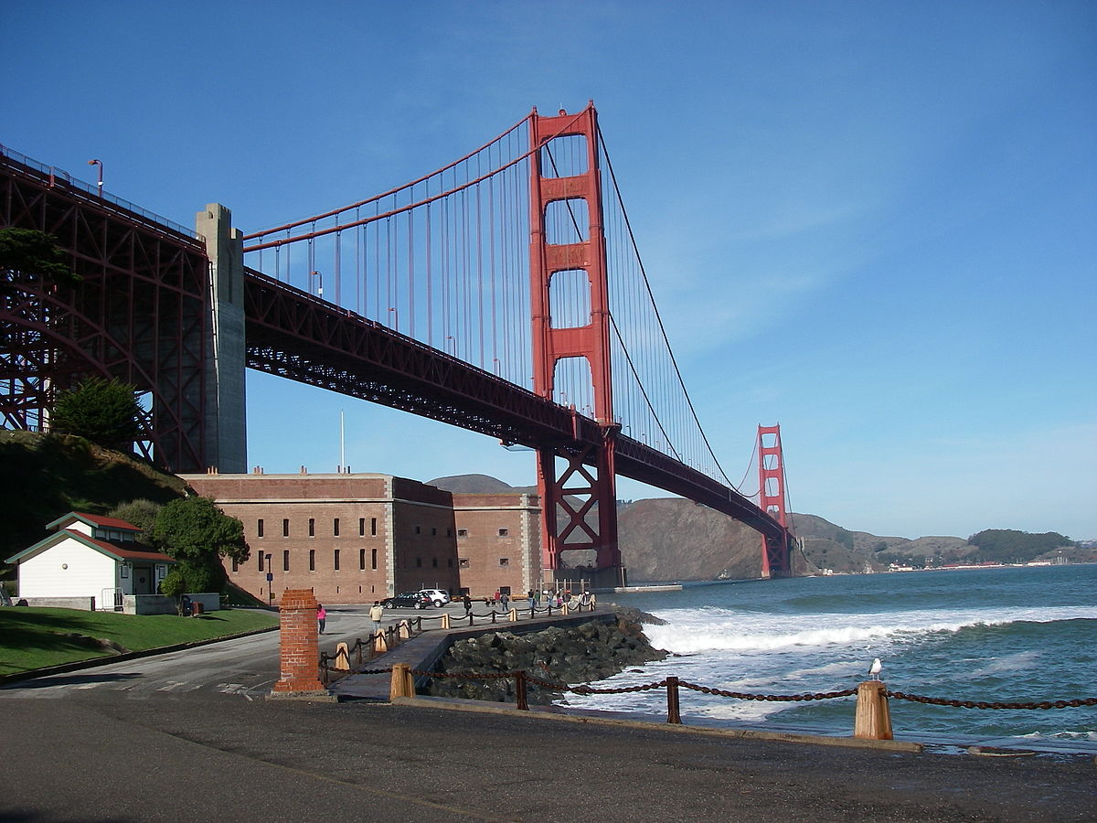 Modern day, with the Golden Gate bridge in the background. By Leaflet.
