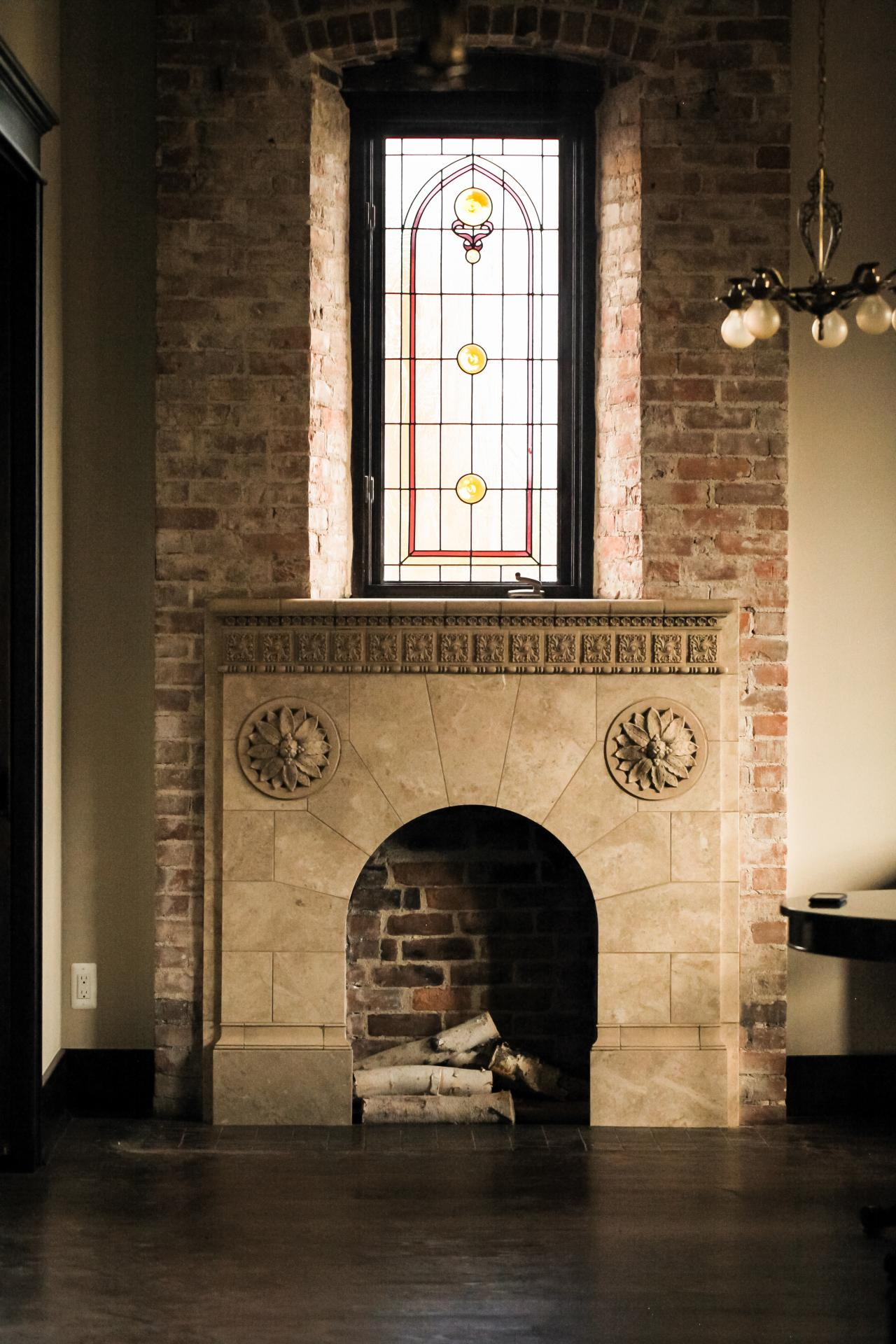 A fireplace after renovation