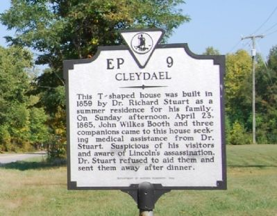 Cleydael marker describing Booth's visit and inhospitable treatment by Dr. Stuart.  The marker itself is currently missing.