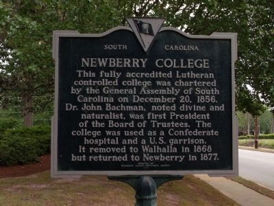 South Carolina historical plaque, located at entrance to campus