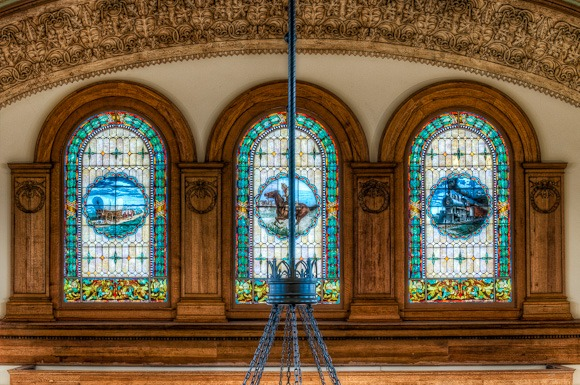 Ashton Depot stained glass.